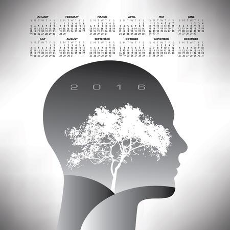 2016 ethereal calendar Vettoriali