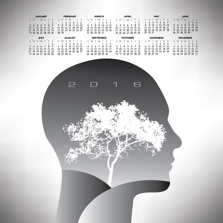 calandar: 2016 ethereal calendar Illustration