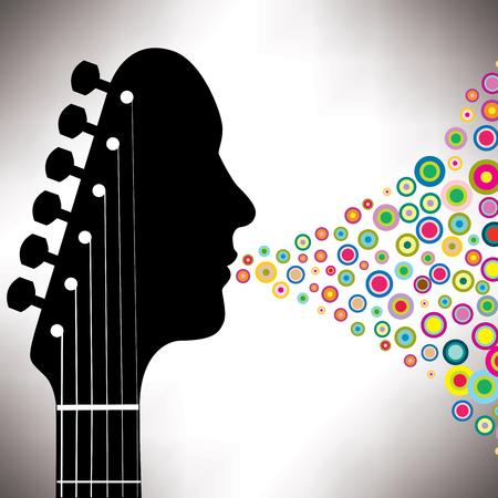 Guitar headstock man with circles 일러스트