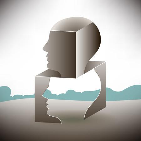 silueta humana: Pensar fuera de la caja del paisaje Vectores