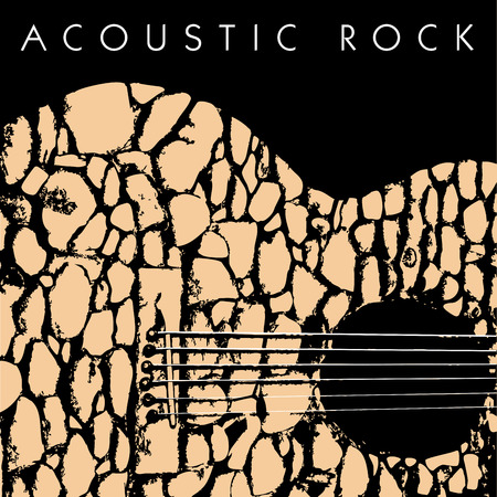 oldies: A depiction of an acoustic guitar made of stones