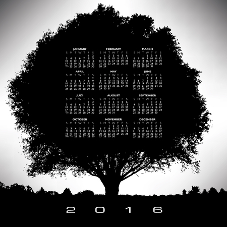 A 2016 tree and nature calendar for print or web