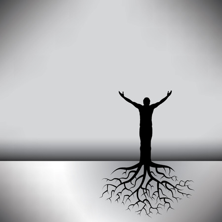 has: This black  white background has a man with tree roots Illustration