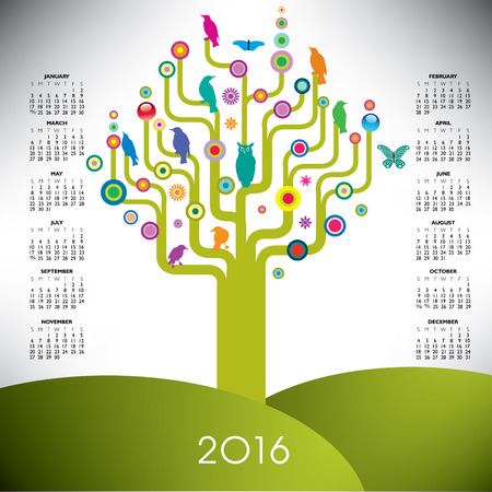 event planner: A playful and colorful tree calendar for 2016 Illustration