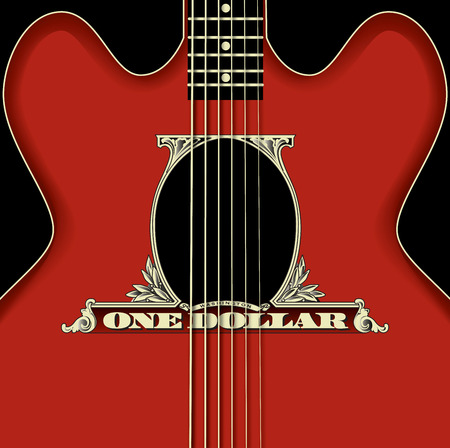 vector backgrounds: This guitar uses dollar parts for its sound hole Illustration