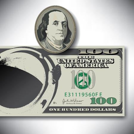 benjamin franklin: Surreal 100 dollar bill elements Illustration