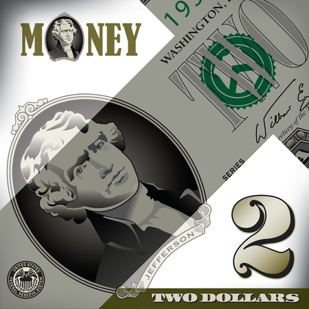 bill: Miscellaneous 2 dollar bill elements Illustration