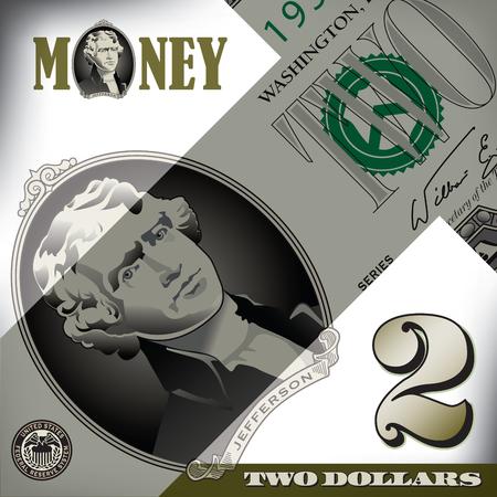 dollaro: Varie elementi Bill 2 dollari
