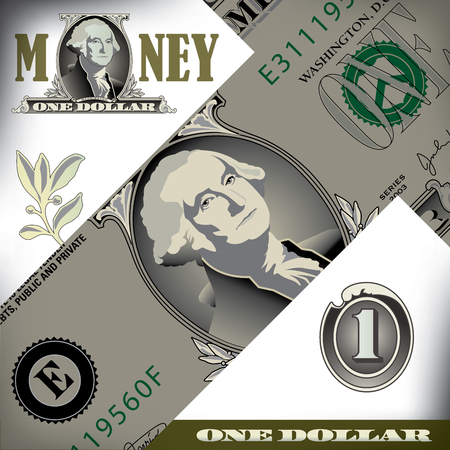miscellaneous: Miscellaneous one dollar bill elements Illustration