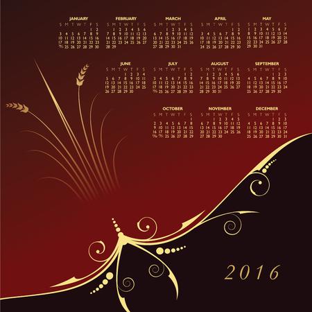 calandar: 2016 Elegant floral calendar Illustration