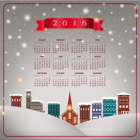 quaint: A 2016 quaint Christmas village calendar Illustration