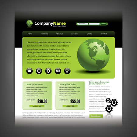 icons site search: Website design template with globe and gears