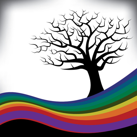 A colorful rainbow frames a bare tree