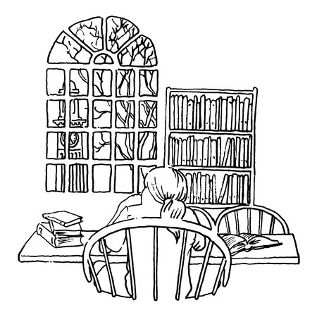 taking notes: A student studying in a library line illustration