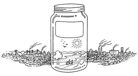 ecosistema: Un frasco lleno de ambiente limpio línea de ilustración