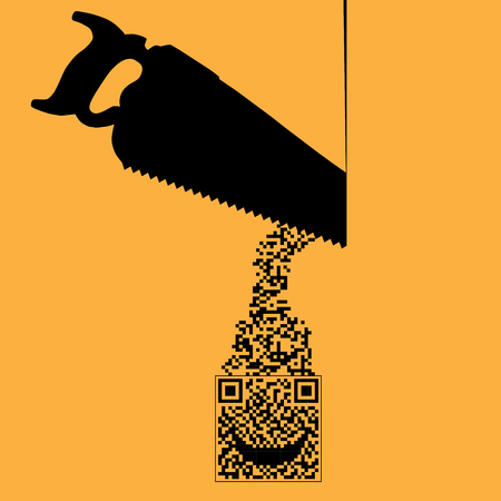 Cutting through red tape with QR code is the theme of this illustration