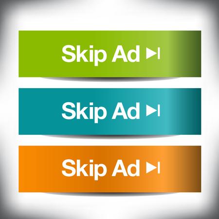 conjunto de colores de los botones de salto de anuncios para impresión o web