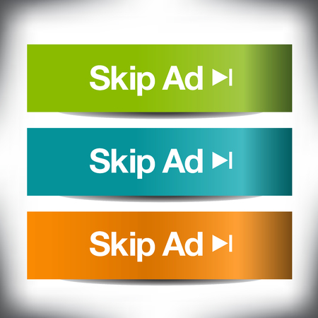 Colorful set of skip ad buttons for Print or Web