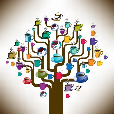 coffee tree: A coffee tree made with assorted coffee cups