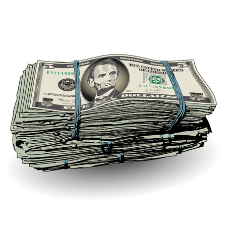 stylized banking: A fat stack of 5 dollar bills with space for text