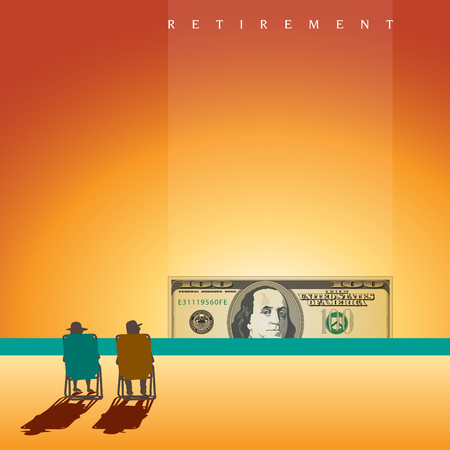 retired: A retired couple on the beach with enough money