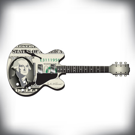 Dollar guitar art, ideal for music CD cover Illustration