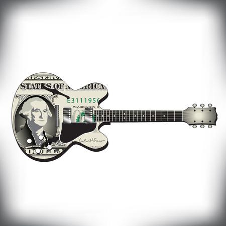 Dollar guitar art, ideal for music CD cover Illustration