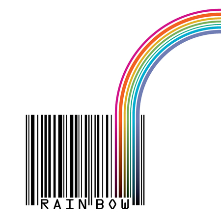 space for type: UPC barcode with  a rainbow and space for your type