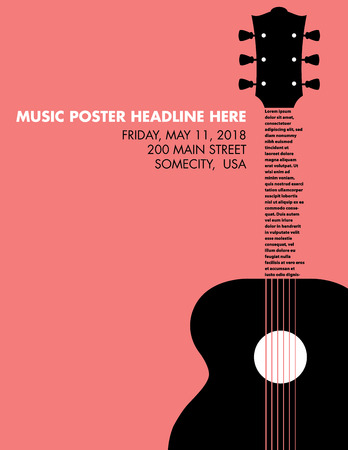 Guitar musical template with space for your type Illustration
