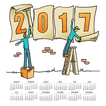 calandar: Whimsical drawing 2017 calendar for web or print use