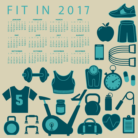 cardio workout: Fit in 2017 creative colorful calendar with fitness icons