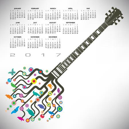 A 2017 Colorful, whimsical, funky guitar calendar Illustration