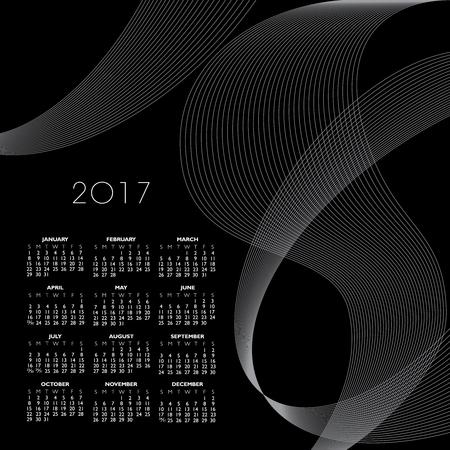 calandar: A 2017 abstract wavy line calendar  for print or web Illustration