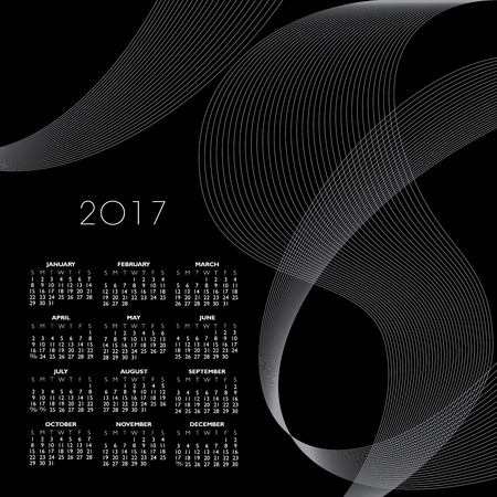 A 2017 abstract wavy line calendar  for print or web Illustration