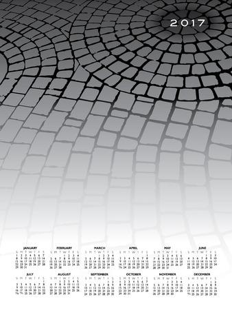 A 2017 cobblestone calendar for print or web use Illustration