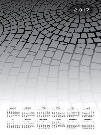 A 2017 cobblestone calendar for print or web use Illustration