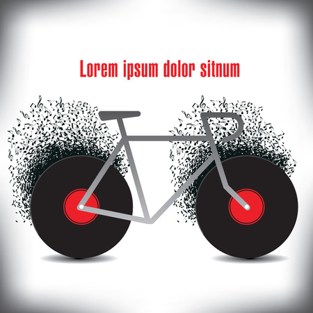 abstract grunge: A funky bicycle made of records and notes