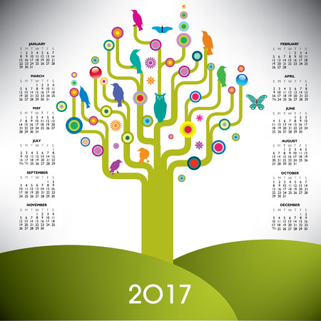 event planner: A playful and colorful tree calendar for 2017