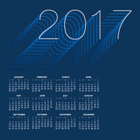 2017 Creative Colorful Calendar in shades of blue