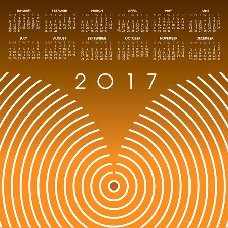 calandar: A 2017 abstract wavy line calendar for print or web