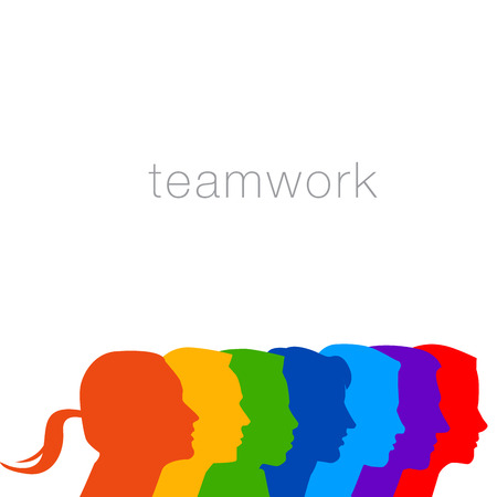 totality: A diverse group of people in this teamwork graphic Illustration