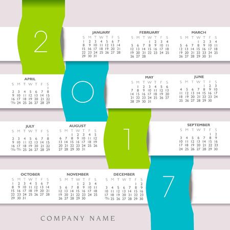 calandar: 2017 Colorful Creative Calendar with Banners
