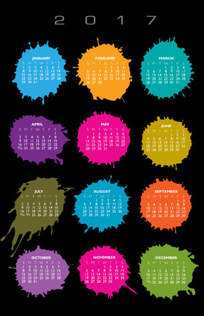 agenda year planner: 2017 Creative colorful splatter calendar
