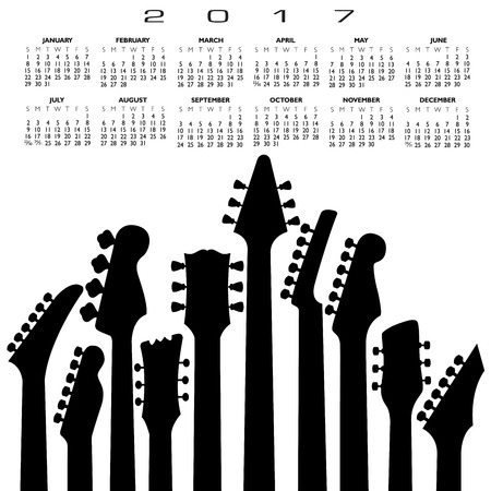 2017 creative guitar calendar for print or web
