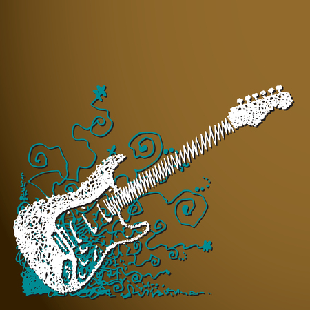 Creative scribble guitar background