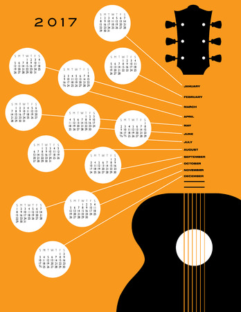 calendar page: 2017 Guitar calendar, ideal for gig calendar Illustration