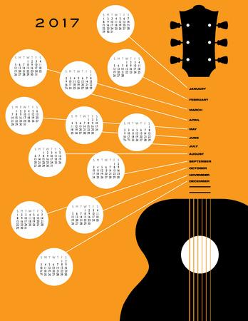 2017 Guitar calendar, ideal for gig calendar Illustration