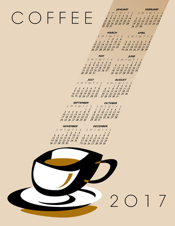 caf: 2017 coffee calendar, ideal for print or web use Illustration