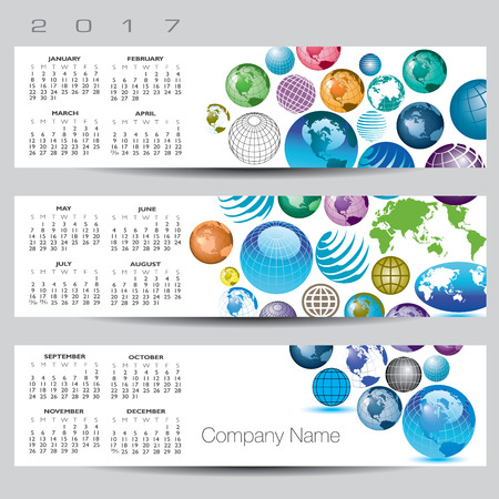 exciting: Exciting and colorful globe calendar for 2017 Illustration