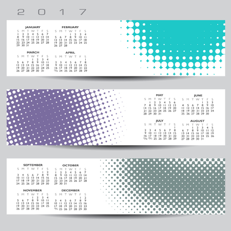 exciting: Exciting and colorful abstract dot calendar for 2017
